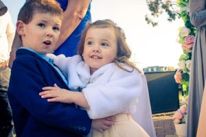cute page boy and flower girl in Yarra River wedding ceremony