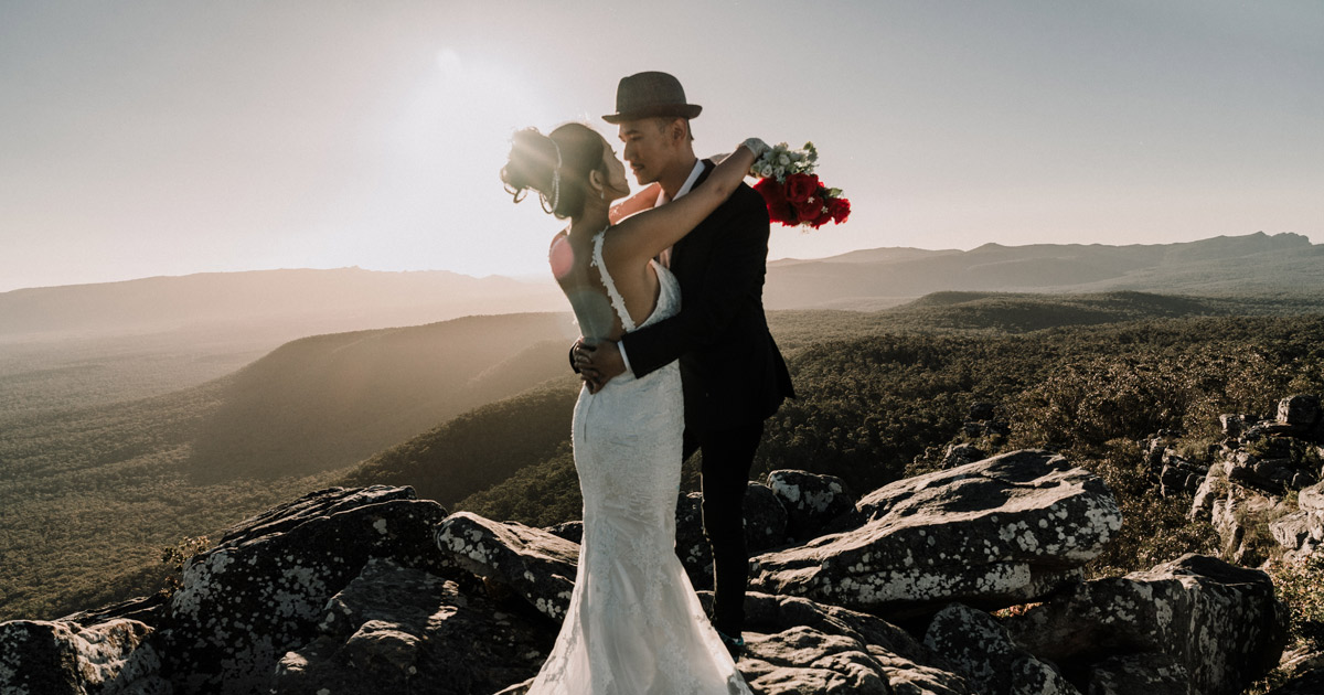 Melbourne Wedding Photography image of Australian married couple on The Grampians for wedding videography