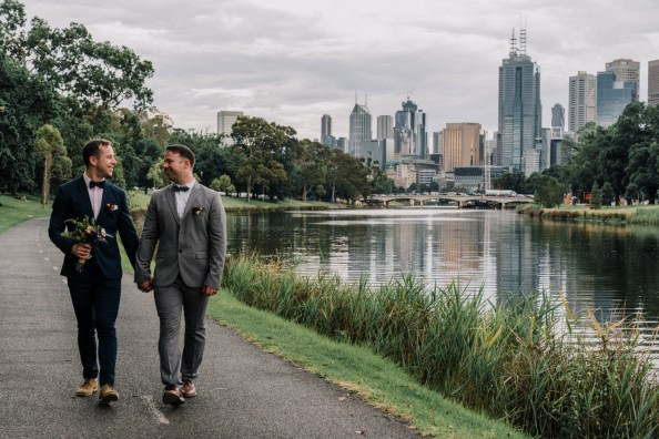 Neale and Matt having their Melbourne gay wedding party by yarra river