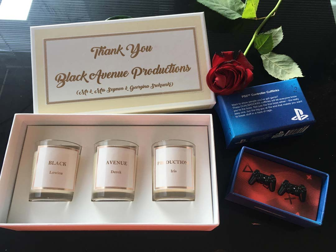 scent by Suz candle set and PS3 cufflinks gift by bride