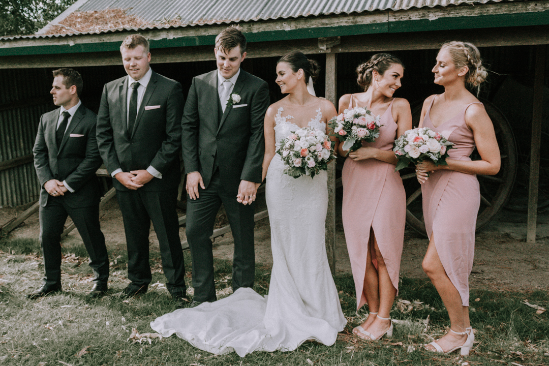 bridal party photo at rustic barn wedding venue at Mt Martha