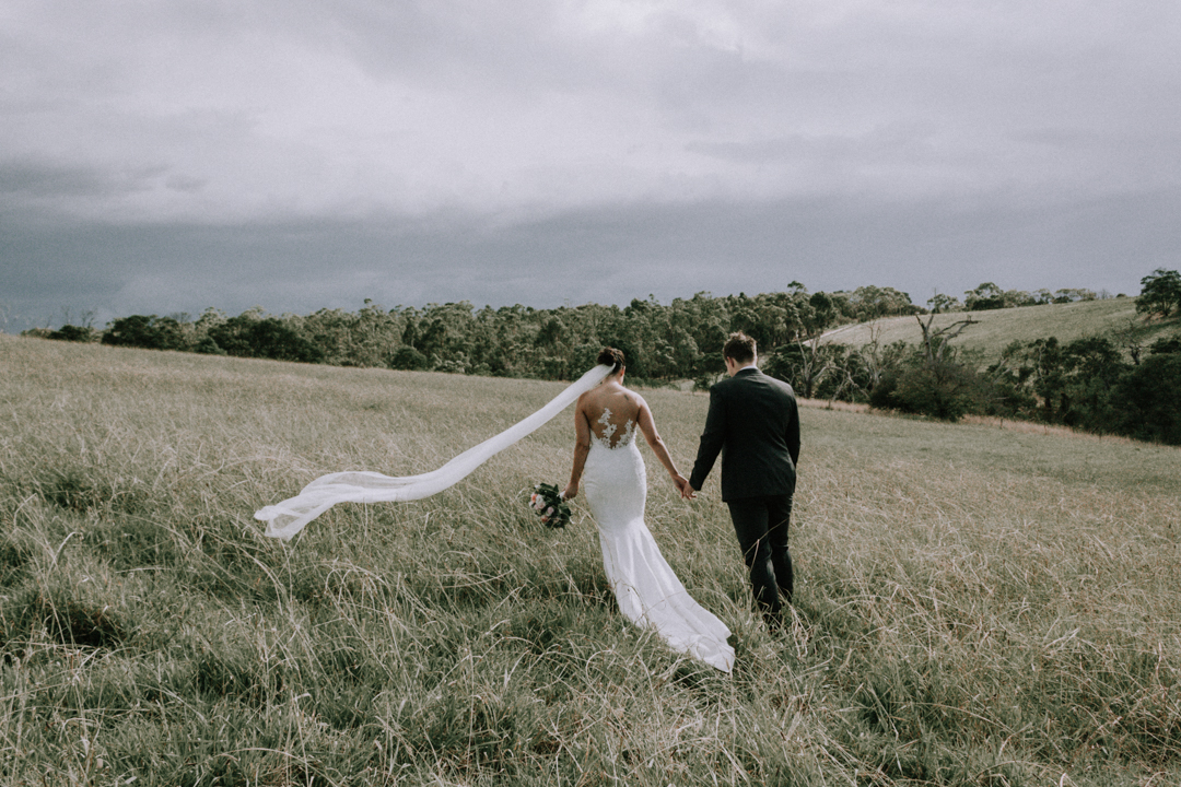 romantic wedding photo taken at a rustic wedding venue called The Briars in Mount Martha