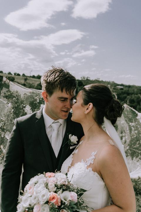 beautiful wedding photo at a winery Mornington Peninsula