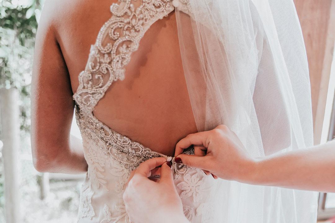 bride button up lace dress captured by Black Avenue Productions