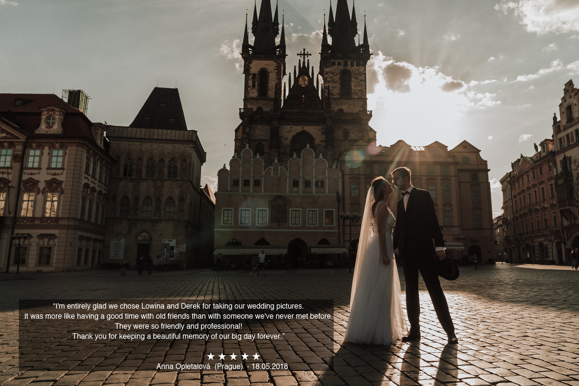 review for Prague wedding videography by Black Avenue Productions in beautiful Old Town Square Prague