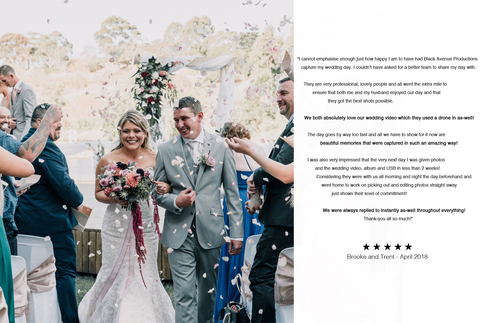 Melbourne couple highly recommended their wedding photography and videography service by Black Avenue Productions