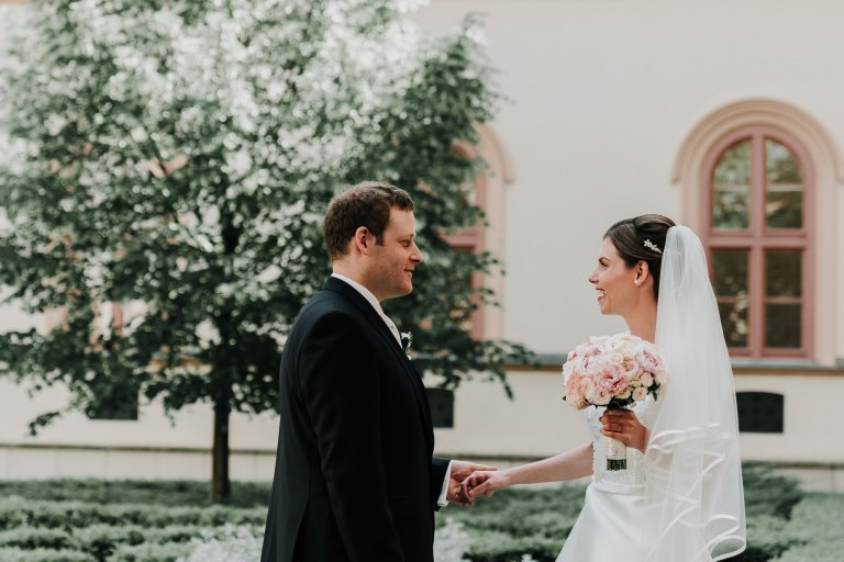 candid moments of Wedding first look captured perfectly by Melbourne photographer Black Avenue Productions in destination wedding in Europe
