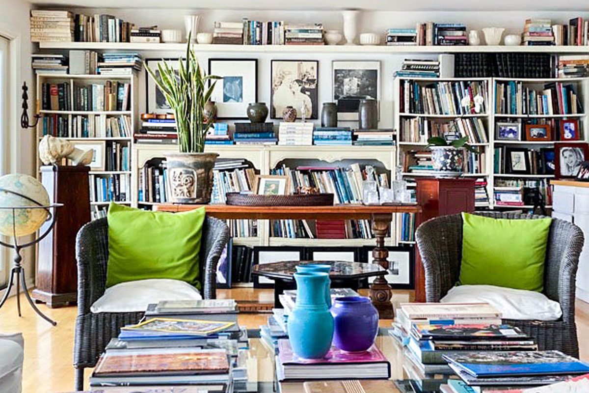 WENDY'S MOM JUDITH CORONA'S HOME LIBRARY IN MALIBU, CALIFORNIA