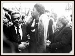 Amiri Baraka and Maya Angelou at James Baldwin's funeral. Photo credit unknown.