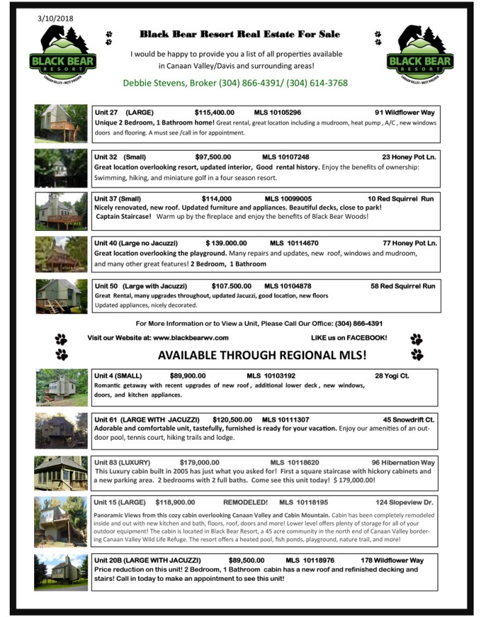 black bear resort real estate sales