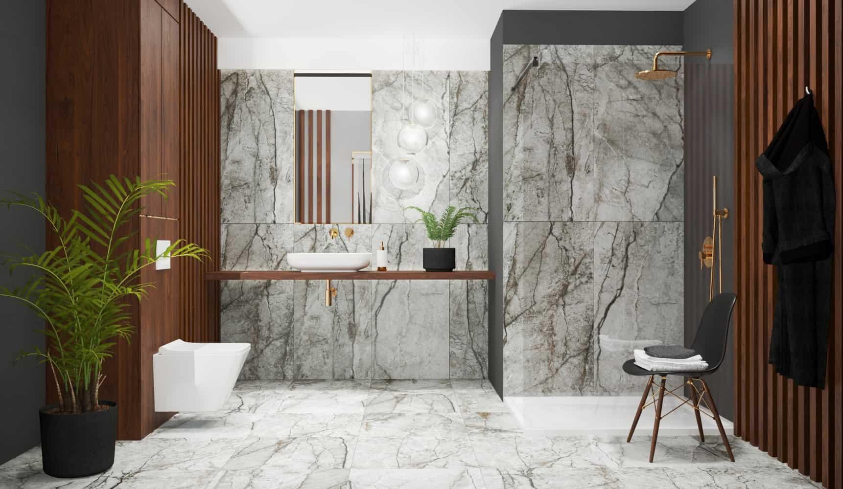 marble tile bathroom design black