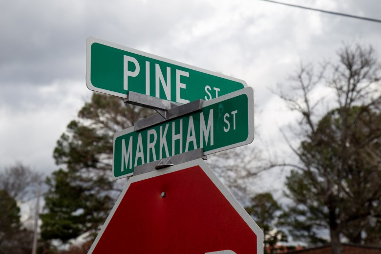 The intersection of Pine Street and Markham Street in Conway, Arkansas.