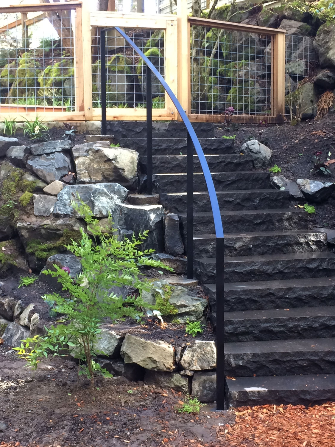 Exterior Metal Railings Ironwork Seattle Wa Blackbird Iron   Outside Metal Railings For Steps   Galvanized Iron   Wrought Iron Staircase Used   Decorative Iron Stair Rail Support   Steel Railing   Mixed