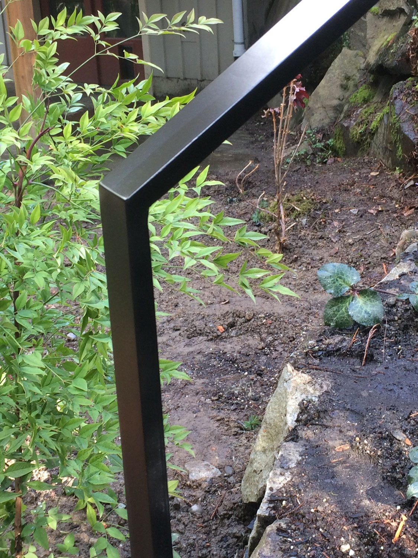 Exterior Modern Handrail For Backyard Steps Seattle Wa | Exterior Handrails For Steps | Cast Iron | 3 Step | Brushed Nickel | Front Step Railing Pipe | Garden