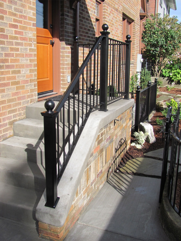 Exterior Metal Railings Ironwork Seattle Wa Blackbird Iron   Metal Handrails For Steps   Diy   Stair   Single Post   Victorian   Small