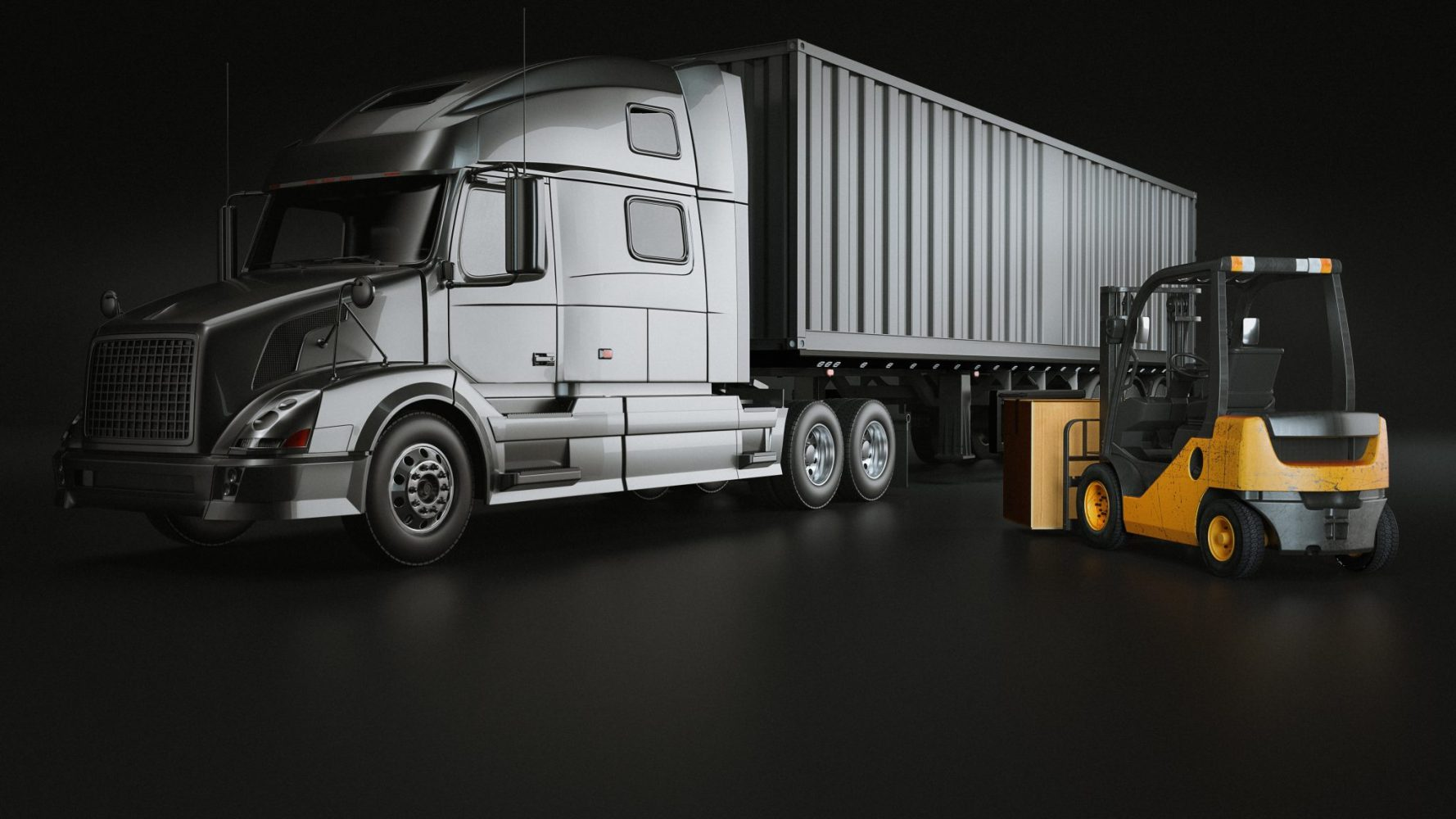 truck and  Folk Lift in the studio room. 3d rendering and illustration.