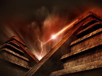 Ancient pyramids at night