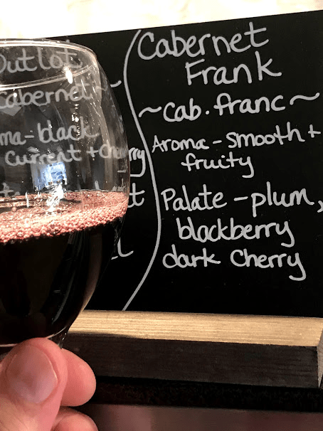 wine research with glass and palate description
