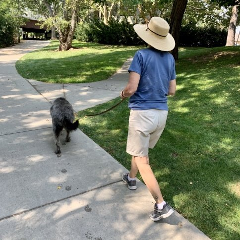 Laurie walking Willa the dog.