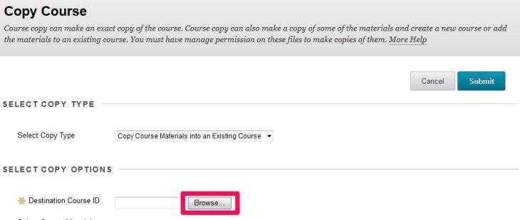 Course copy select destination course