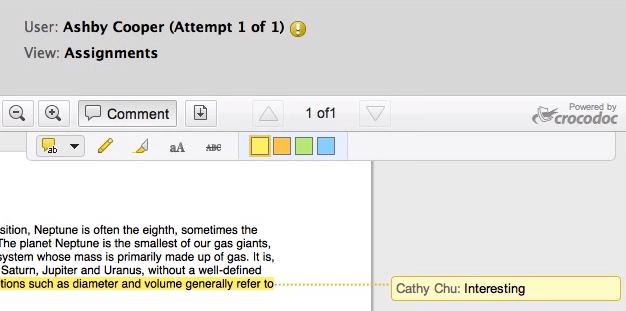 Inline Grading with comment