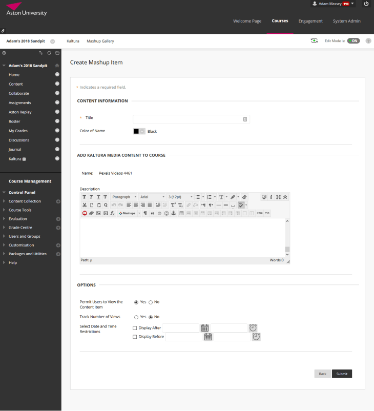 Screenshot of creating a Kaltura item in Blackboard