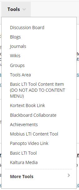 Screenshot of the Tools menu in a content area