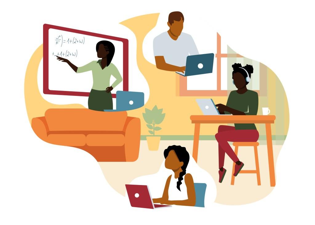Black woman teaching remote students.