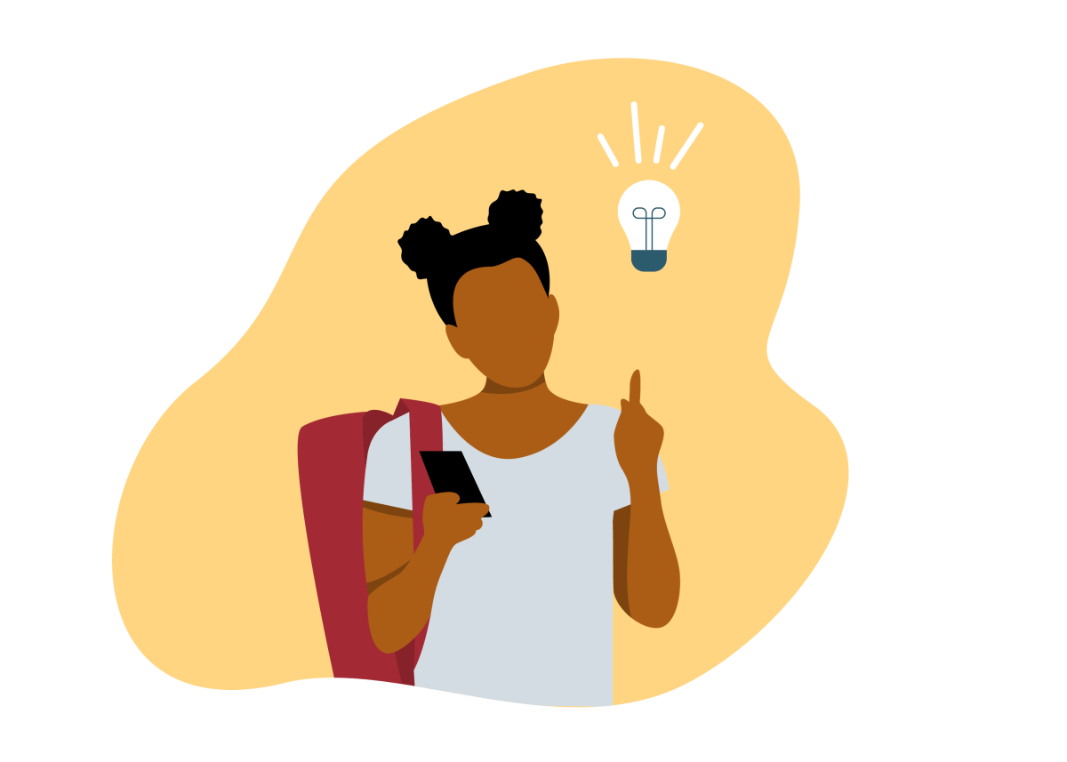 Young Black female student with an idea