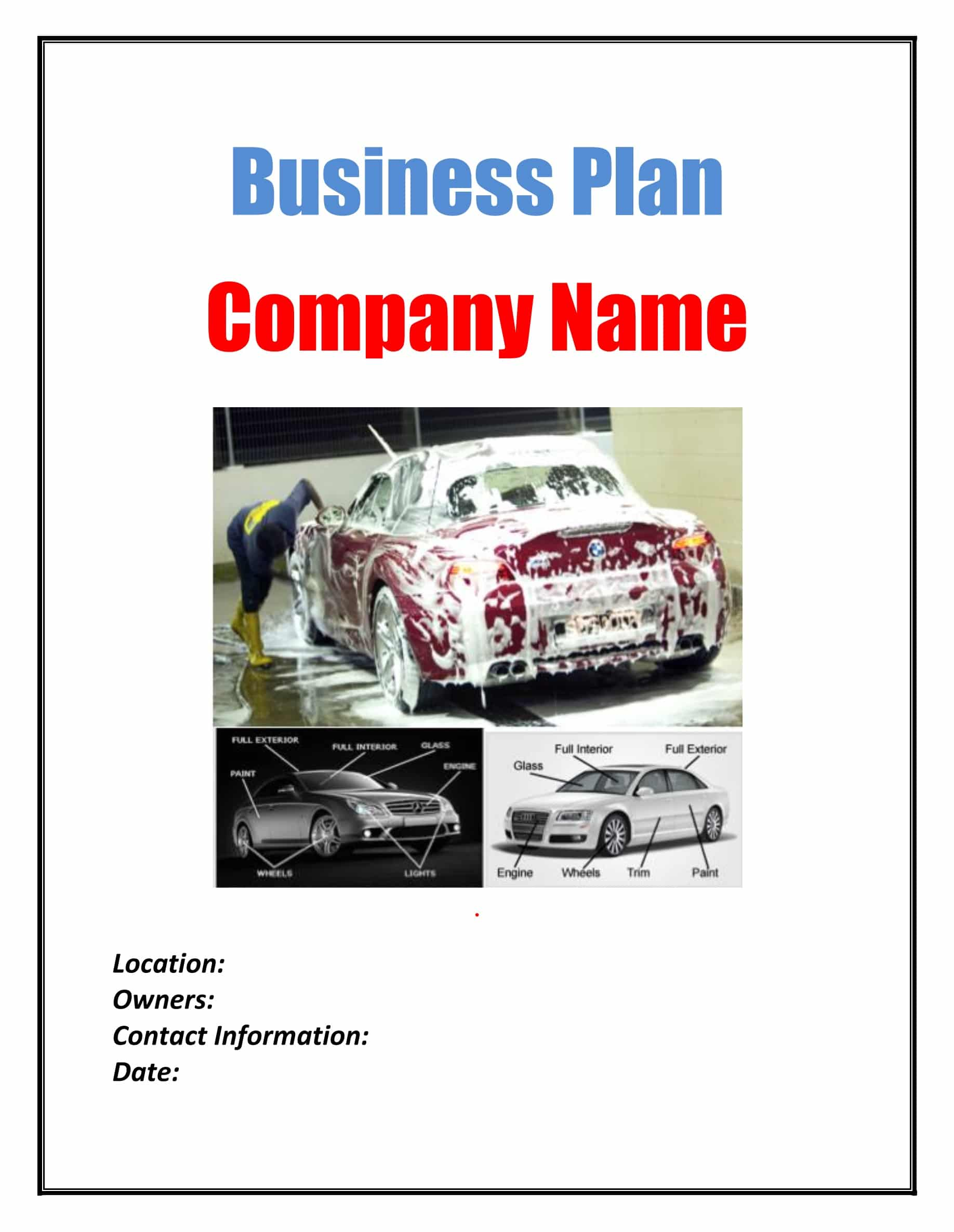 Car Wash Business Plan Template Physical Location Sample