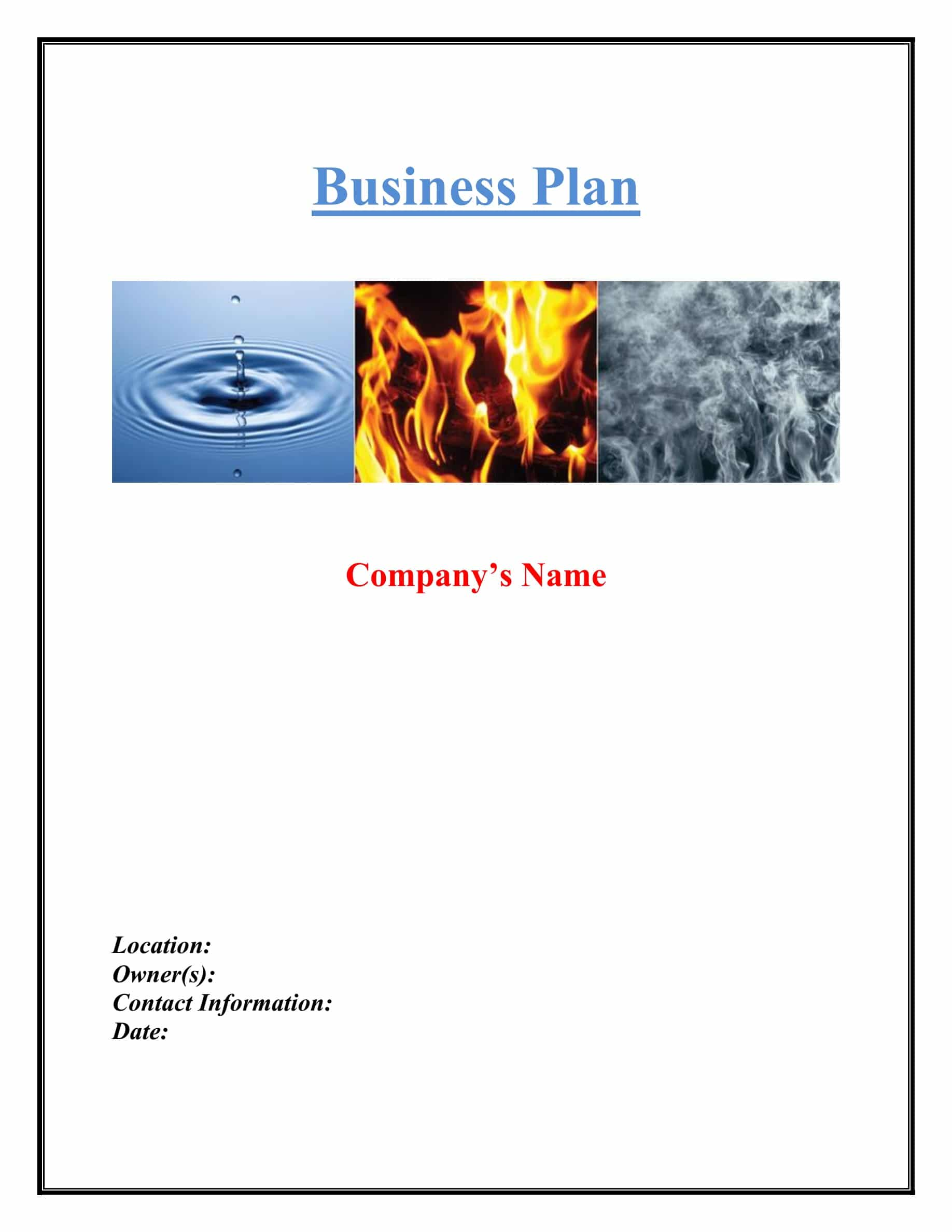 Water Fire And Smoke Restoration Business Plan Template