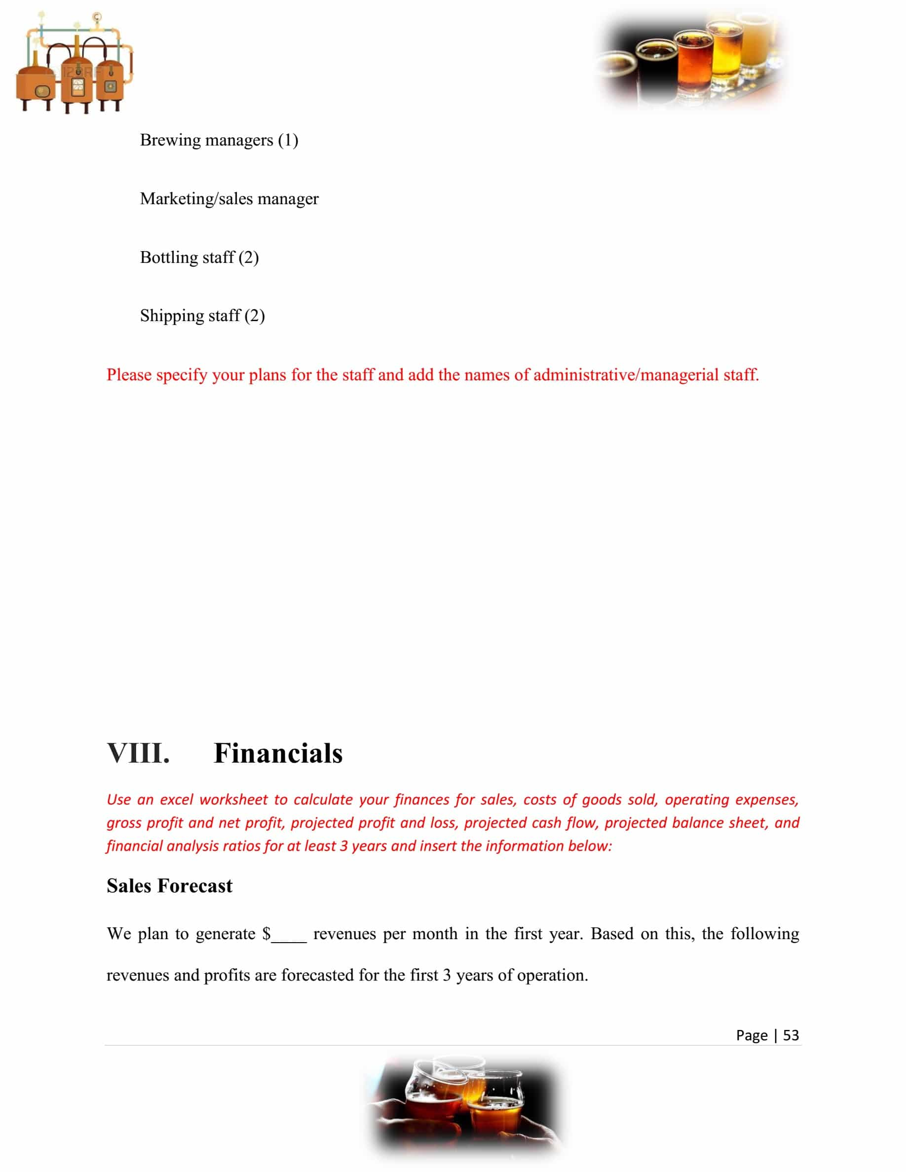 Microbrewery Business Plan Template Sample Pages