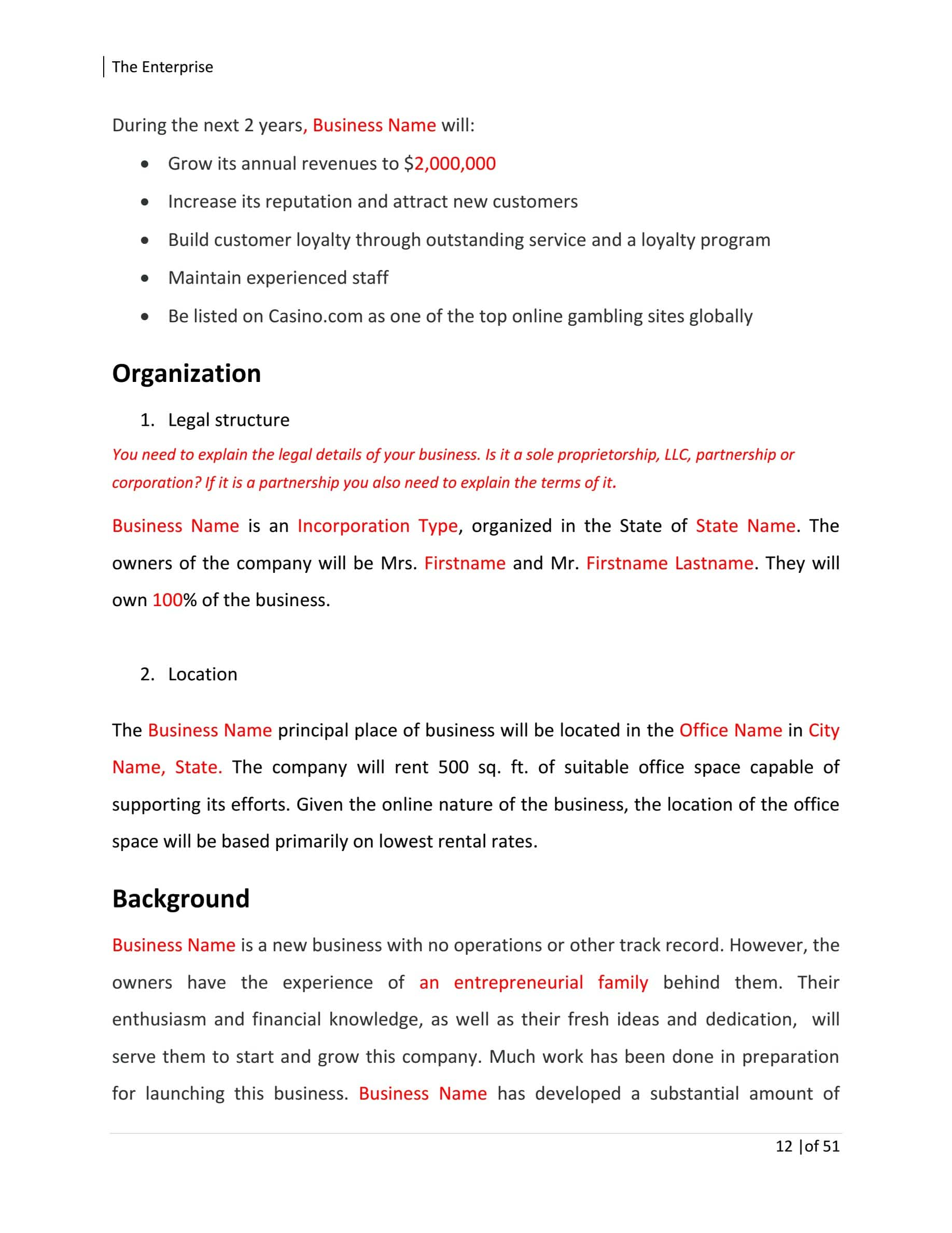 Online Business Plan Template Sample Pages
