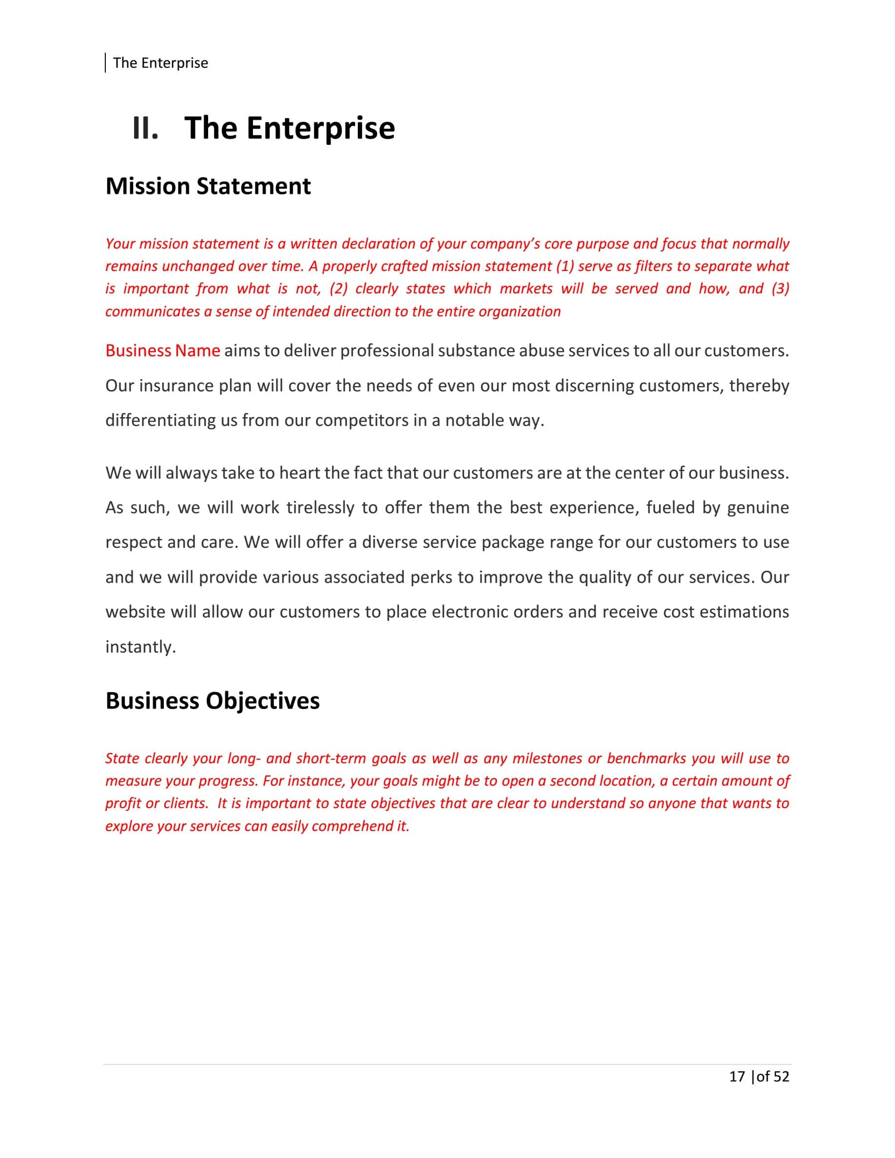 Substance Abuse Center Business Plan Template Sample Pages