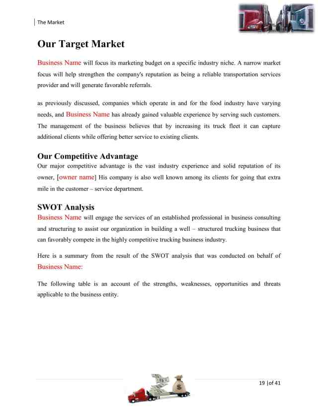 Trucking Transport Business Plan Template Sample Pages – Black Box
