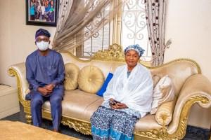 APC aspirant, Tokunbo Abiru with Mrs Jumoke Razak, wife of late APC chieftain, Lanre Razak at their residence yesterday