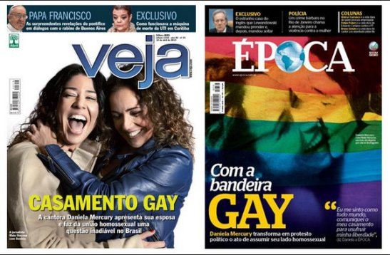 Daniela Mercury and partner Malu Verçosa on the covers of two popular magazines