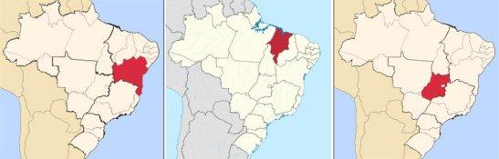 Left to right: Bahia, Maranhão and Goiás (white dot is nation's capital of Brasília)