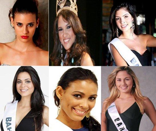 Miss Bahia winners, 2012 - 2007: Top (left to right): Bruna Diniz, Gabriela Marcelino, Rafaela Marques. Bottom (left to right): Paloma Garzedim, Daniela Valadão Pinto, Renata Marzolla