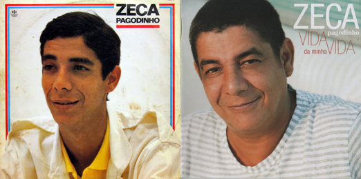 Singer Zeca Pagodinho on a mid 1980s LP cover (left) and 2010 CD cover