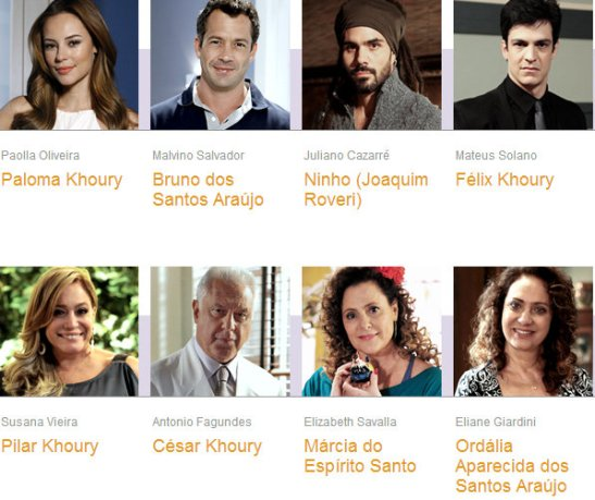 "Eight of the actors and the characters they portray on the novela, ""Amor à Vida"""