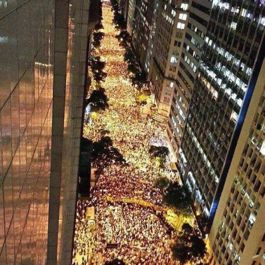 Protest in Rio was estimated to have attracted 100,000 participants