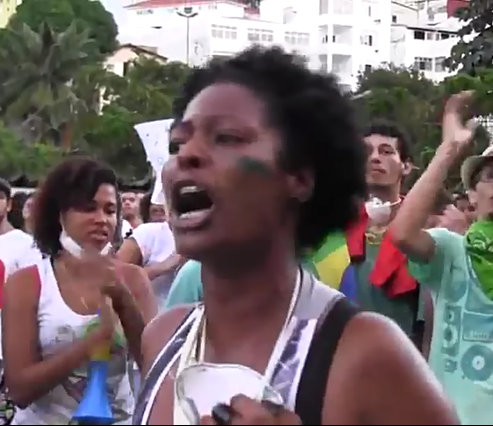 """Protester in Salvador, Bahia: """"We don't want or need two Carnivals. We want quality education, healthcare, better streets!."""""""