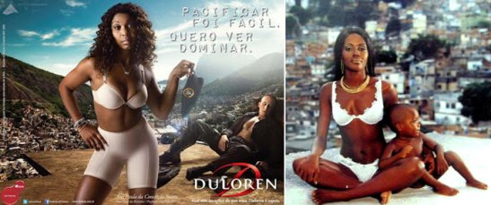 Two ads by the lingerie maker Du Loren