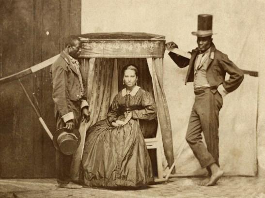 Slaves carrying woman in Bahia, cerca 1860