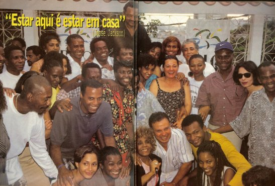 Jackson (top) in Brazil in 1996 along with a number well-known Brazilians including Antonio and Camila Pitanga, Benedita da Silva, Elisa Lucinda, Elza Soares, Zezé Motta, Luiz Melodia, Aroldo Macedo, Neguinho da Beija Flor and Maria Ceiça