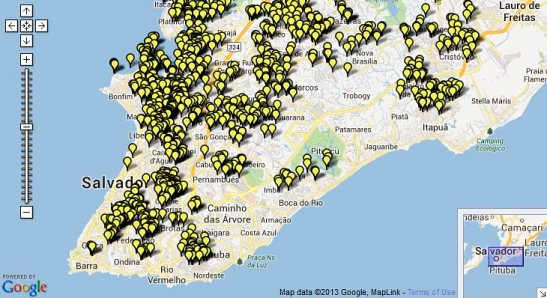 Mapping of terreiros in Salvador, Bahia. There are more 1,300 terreiros in Salvador, Bahia