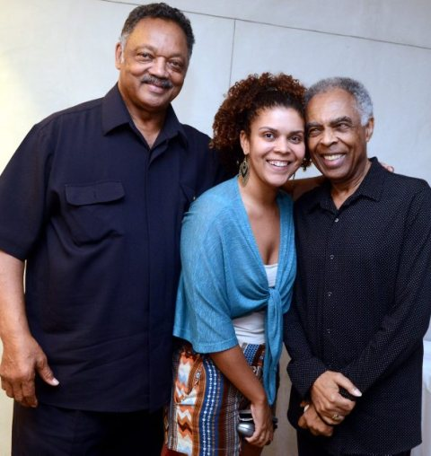 Jackson with singer/composer and former Minister of Culture Gilberto Gil (right) and Gil's daughter, Maria (center)