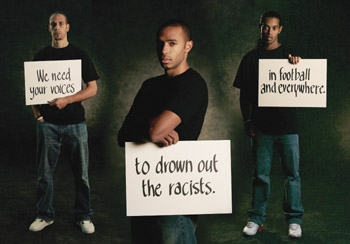 """Soccer stars like Thierry Henry (center) and Ronaldinho (right) participated in the """"Stand Up Speak Up"""" campaign against racism in European football in 2005"""