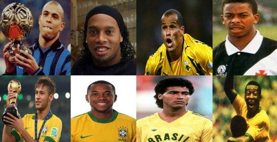Brazilian futebol greats Top: (left to right) Ronaldo, Ronaldinho, Rivaldo, Dener Bottom: (left to right) Neymar, Robinho, Romário, Pelé